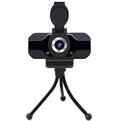 Cámara web HD 1080p PC con micrófono para escritorio, 110 grados de gran angular, reproducción USB y enchufe con soporte, puerta obturadora de privacidad para portátil videollamadas, conferencias