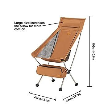 Naturehike Chaise de Camping Pliable Chaise de Plage Pliable Chaise Pliante Extérieure Portable pour la Pêche, Le Pique-Nique, la Randonnée (Jaune L)
