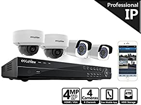 LaView 4-Megapixel (2688 x 1520) 8CH PoE NVR Security Cameras System - 4 4MP Security Camera System - 2 4MP Bullet and 2 4MP Dome IP Surveillance Cameras, 100ft Night Vision, 4TB Hard Drive