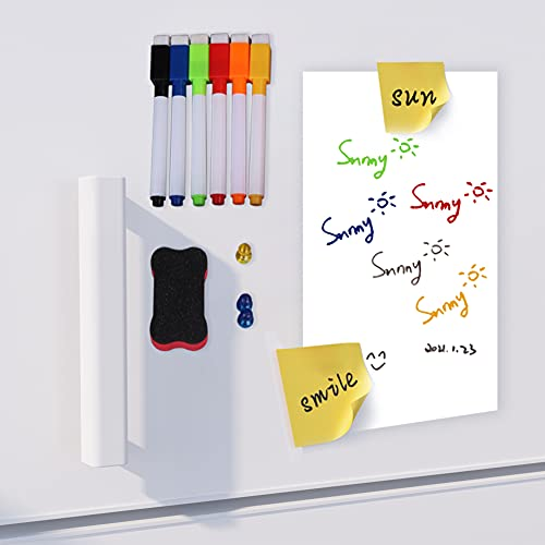 """WINSFISH Magnetic Dry Erase White Board 18"""" X 12"""" Sheet for Kitchen Fridger with Stain Resistant Technology - Includes 6 Markers and Eraser with Magnets Dry Erase Whiteboard (White, 1812)"""