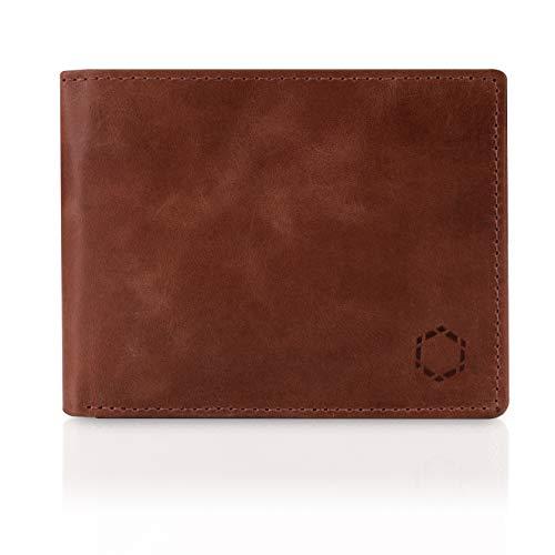 Schwarz Stein RFID Herren Geldbörse aus echtem Büffel-Leder - stilvoller & sicherer Männer Geldbeutel Dank Diebstahlschutz (Braun)