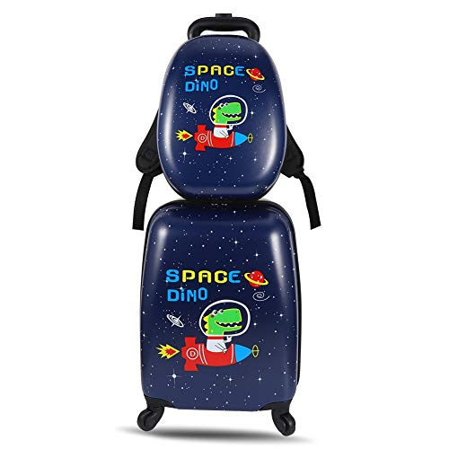 miuse 2 PCS Kids Luggage Set, ABS 13'' Backpack 18'' Suitcase Carry on Rolling Trolley Case for Boys and Girls Children School Travel(Dinosaur)