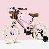 Vintage Bicicletas Niños, Niño De La Bicicleta con Ruedas De Entrenamiento De Los Niños, para Las Edades De 3-8 Años Niñas Y Niños (Pink, 14')