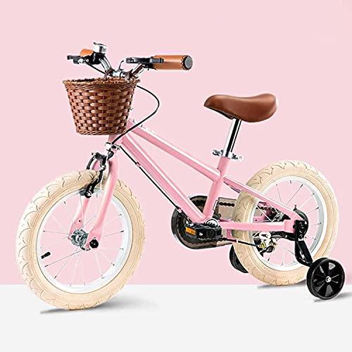 """Vintage Kinderfahrrad, Kleinkind Kinder-Fahrrad Mit Stützrad, Für Kinder Ab 3-8 Jahre Alt Mädchen & Jungen (14\"""", Pink)"""