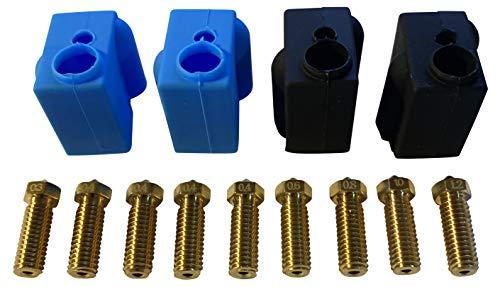 3DPLady | Impresora 3D, 4 calcetines de silicona Volcano (protección del bloque térmico) + juego de boquillas Volcano