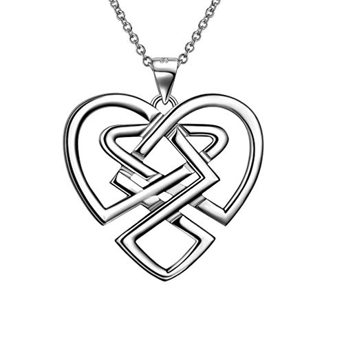 Good Luck Irish Celtic Knot Necklace 925 Sterling Silver Triangle Vintage Heart Knot Pendant Women Girls Amulet Jewelry Birthday Gift for Women Girls FP0053W