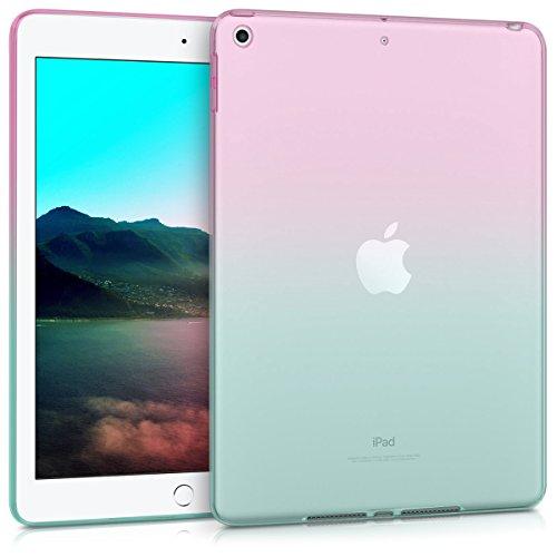 kwmobile Carcasa Compatible con Apple iPad 9.7 (2017/2018) - Funda para Tablet de TPU - Bicolor Rosa Fucsia/Azul/Transparente