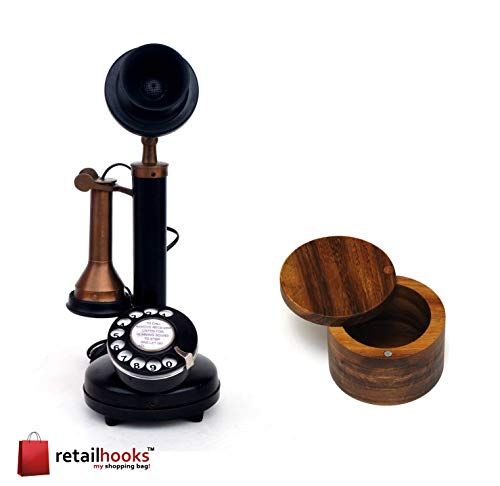 retailhooks Vintage Antique Candlestick Rotary Dial Phone Vintage Black Antique Finish Table Decorative Telephone with Free Hard Wood Salt or Spice Box