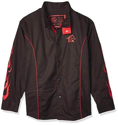 Revco BX9C - Small Bsx Bx9C Small Black W Red Flames Cotton Welding Jacket