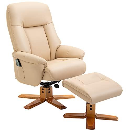HOMCOM 10-Point Massage Sofa Armchair Chair PU Leather W/Footrest Stool Heat Recliner Beige