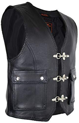 MDM Herren Lederweste mit Aufgesetzten Taschen (XL)