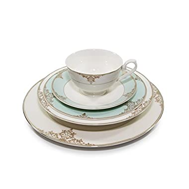 Royalty Porcelain  Gloria  5-Piece White & Heaven Blue Dinnerware Set, 24K Gold-Plated, Bone China Porcelain, Service for 1