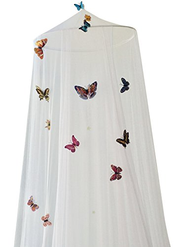 Dream Tada Cinderella Room Decorations, Girl's Bed Canopy - Kid's Glow in The Dark Butterflies Netting, Fit Twin Full Queen, DIY Kit Make a Wish As You Place Each Butterfly