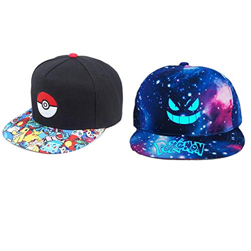 2 Piezas Anime Pokemon Go Hat Ash Ketchum Pokemon Hat Pikachu Poke Ball Cosplay Gorra de béisbol Ajustable Unisex Hip Hop Cap