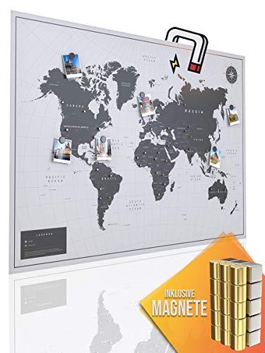 VACENTURES Magnetische Pinnwand Weltkarte White inkl. 2 x 15 magnetische Pins I Markiere Deine Reiseziele I Sammel Fotos und Magnete I Magnet Poster - World map (XL (84x59cm))