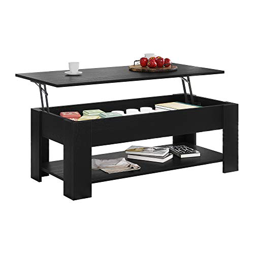 HOME BI Lift Top Coffee Table with Hidden Storage Compartment and Bottom Open Shelf, Modern...