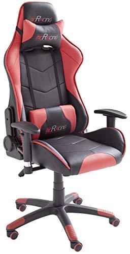 Robas Lund MC Racing 5 Silla de Gaming/Oficina/Escritorio con Asiento Deportivo, Poliester, Negro y Rojo, 58x69x125 cm