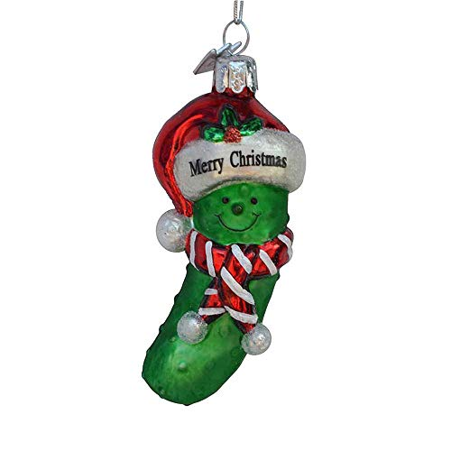 Kurt Adler 3.5' Noble Gems Green and Red Glass Merry Christmas Pickle Christmas Ornament