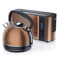 Arendo – Set composto da Bollitore e Tostapane in acciaio inox in design rame – Bollitore 2200 W con filtro anti calcare - 1,7 litri – Tostapane a fetta lunga per 2 fette – Idea regalo cucina