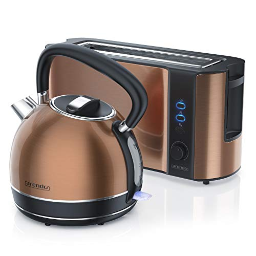 Arendo - Edelstahl Wasserkocher und Toaster in Kupferoptik - Wasserkessel max. 2200W - Kalkfilter - 1,7 Liter - 2 Scheiben Langschlitztoaster inkl. Brötchenaufsatz - Frühstücksset