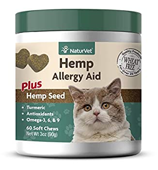 NaturVet Hemp Allergy Aid Plus Hemp Seed Soft Chews for Cats 60 ct Made in The USA