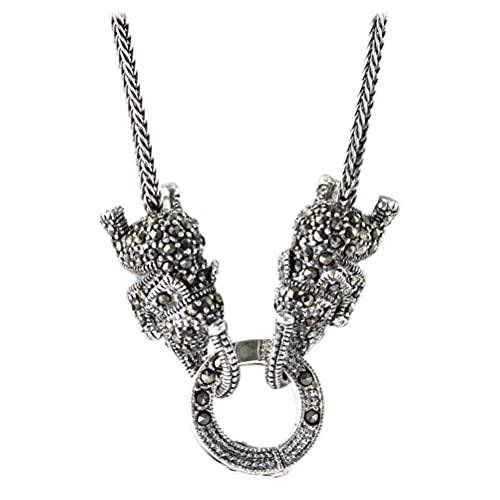 WOZUIMEI Collar de Estilo Chino S925 Collar Cuadrado de Plata Esterlina Hembra Lindo Bebé Elefante Anillo Universal Suéter Collar de CadenaCollar de 65cm