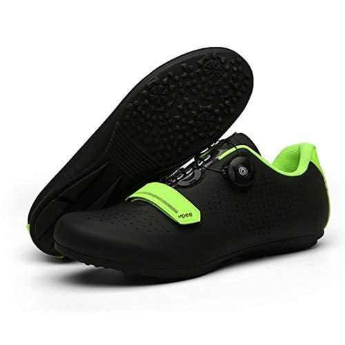 Cool-CZQ Zapatillas de Ciclismo para Hombres y Mujeres, Antideslizantes, Transpirables, para Carretera, Zapatillas para Bicicleta de montaña, Fondo Plano (47,Negro)