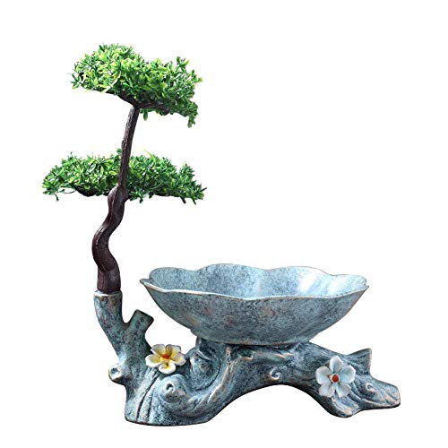 ZLININ Y-longhair Statues Chinese-Style Home Ceramics Fruit Plate Creative Rockery Large Fruit Plate Chic Decorative Literary Coffee Table Decoration