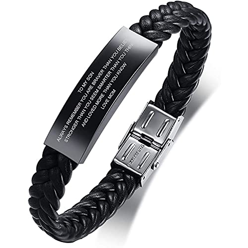 to My Son Gift from Mom Always Remember Leather Bracelets Birthday Graduation Anniversary Inspirational Gift for Men Boy