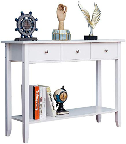White 2 Drawer Console Table with Storage Shelf 80CM Wooden,3 Drawers