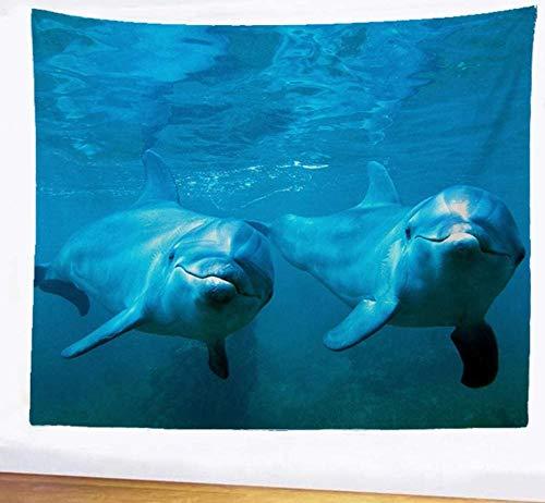 QIAO Tapiz Lindo Dolphin Dormitorio Manta de cabecera Sof¨¢ Hogar Colgante de Pared Joyer¨ªa Estera de Yoga Meditaci¨n Dormitorio Hoja