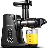Licuadora prensada en frío, AMZCHEF licuadora de frutas y verduras,, panel de pantalla LED, Extractor de zumos con 2 velocidades, 2 botellas de agua(500ML), cepillo fácil de limpiar (negro)