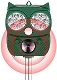 Qsnn Solar Katzenschreck Ultraschall Tiervertreiber, 5 Modi, Blitzlicht, Einstellbarer Alarmton, Auto PIR-Induktion Wasserdicht Marderabwehr USB Garten Tiervertreib für Katze, Marder, Waschbär-Grün