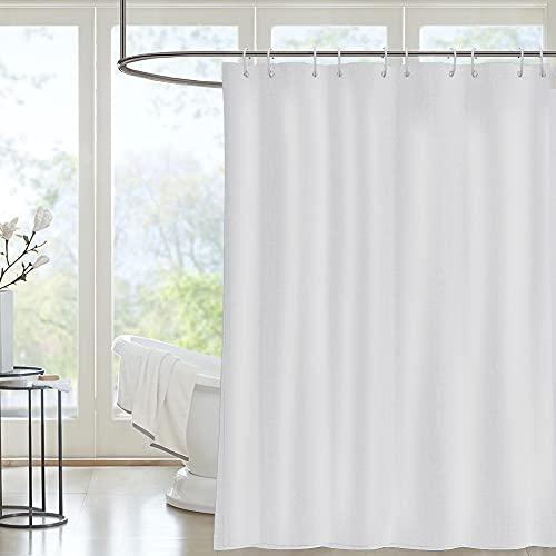 i@HOME Duschvorhang 180*200 cm Anti-Schimmel Wasserabweisend Waschbar Anti-Bakteriell Weiß Duschvorhäng aus Polyester Badvorhang mit 12 Duschvorhängeringen