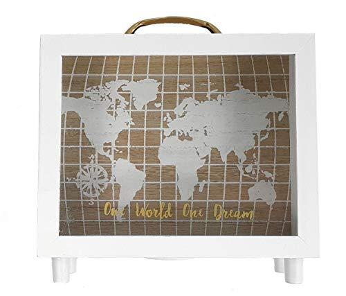 Madera Hucha One World One Dream–Bajo Caja con mapa del mundo–20x 20x 7cm–Hucha Dinero regalo Viaje–Caja registradora