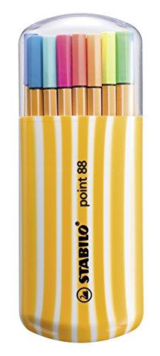 Fineliner - STABILO point 88 - 20er Pack Zebrui - 20 verschiedene Farben inkl. 5 Neonfarben