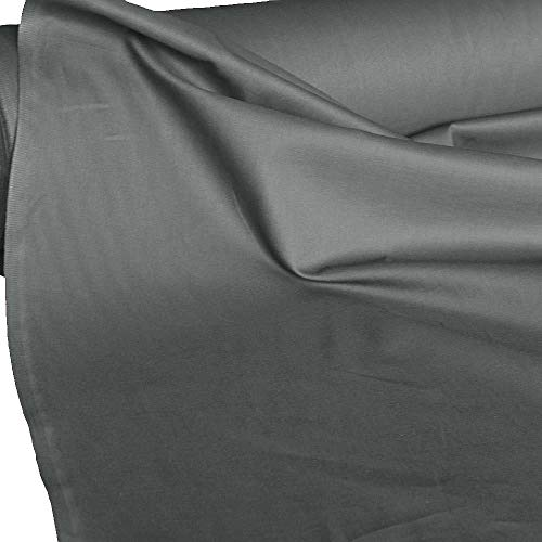 TOLKO 50cm Baumwollstoffe Meterware | der Klassiker zum Nähen Dekorieren | Reine Oeko-Tex Baumwolle | Natur Baumwoll-Nesselstoff als Kleiderstoff Dekostoff Bezugsstoff Vorhang Sonnenschutz (Grau)