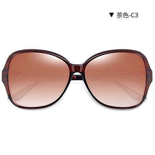 LLZTYJ Gafas De Sol/Viento/Luz/Coche/Cumpleaños/Regalo/Decoración/Gafas De Sol/Hembra Carenado Redondo Diamante/Polarizado/Gafas De Sol/Se Pueden Equipar Con Marrón-C3