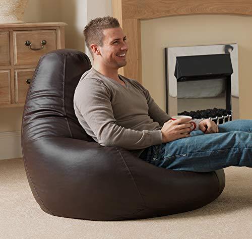 """Bean Bag Bazaar """"Designer Recliner"""" aus Kunstleder, Braun, Gaming-Sitzsack, Sitzsäcke für Erwachsene, 90cm x 73cm, Groß, Sitzsäcke für das Wohnzimmer"""