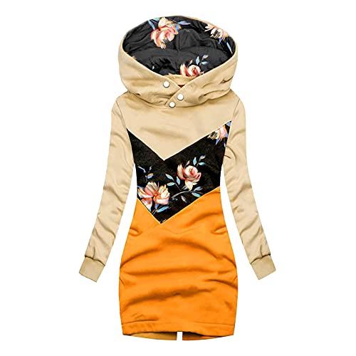Veste à Capuche Zippé Longue Manteau Hiver Épais Sweat-Shirt Sport Zip Up Manche Longue Sweat Ample Hoodie Coupe-Vent Long Automne Poches Outwear