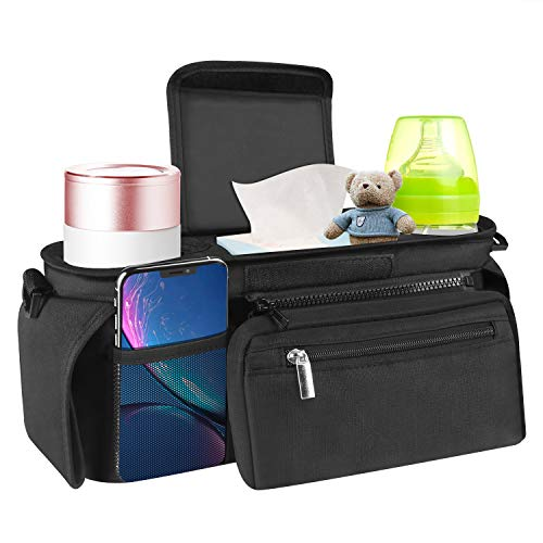 Universal Baby Stroller Organizer with Insulated Cup Holders- Bag Organizer with Shoulder Strap Stroller Accessories Easy Installation