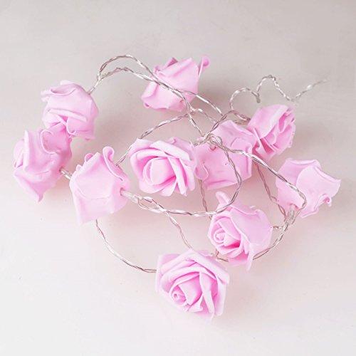 Rosenblüten Lichterkette rosa 10LED warmweiß Batteriebetrieb Lichter Rosen Deko