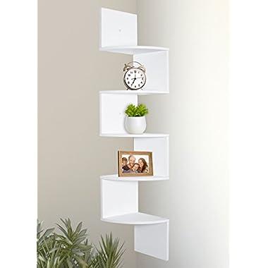 Greenco 5 Tier Wall Mount Corner Shelves White Finish