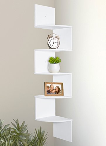Greenco 5 Tier Wall Mount Corner Shelves White Finish
