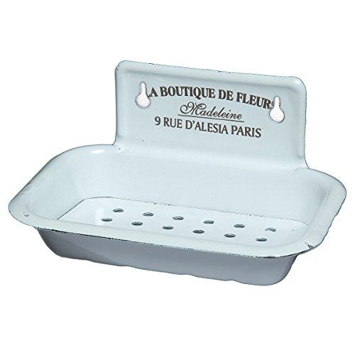 Ambiente Haus Seifenteller aus Emaille Seifenschale, Stahlblech emailliert, Weiß, 8x16x10cm