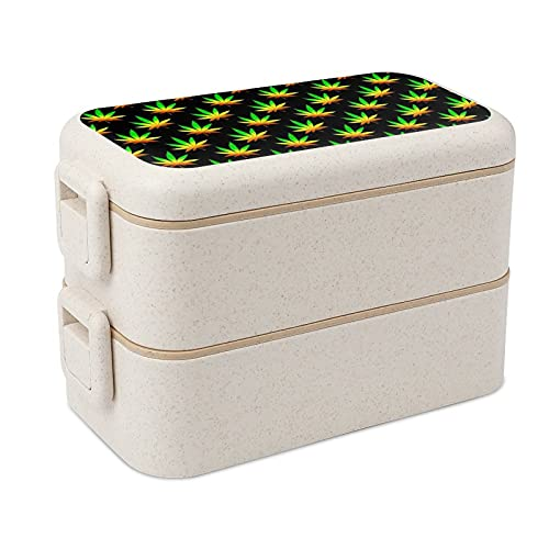 Marijuana Weed Bento lunch Box for Kids and Adults, All-In-One Stackable Premium Bento Box Container with Utensil…