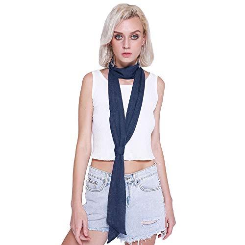 Monique Solid Color Long Narrow Cotton Ribbon Scarf Neck Tie Scarf Choker Belt - Blue - One Size