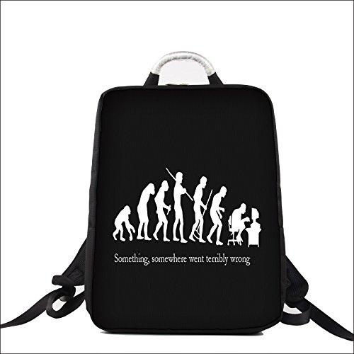 Luxburg® Design Bolsa mochila de diseño para ordenador portátil, multifuncional, para el colegio, el trabajo o el ocio, hasta 15pulgadas. Dibujo: evolución de un geek.