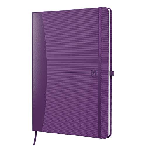 Oxford 400098136 Notizbuch Signature DIN A5 kariert 160 Seiten Stiftschlaufe Gummibandverschluss Tagebuch Kladde Journal Skizzenbuch, violett mit SCRIBZEE App zum digitalisieren ihrer Notizen