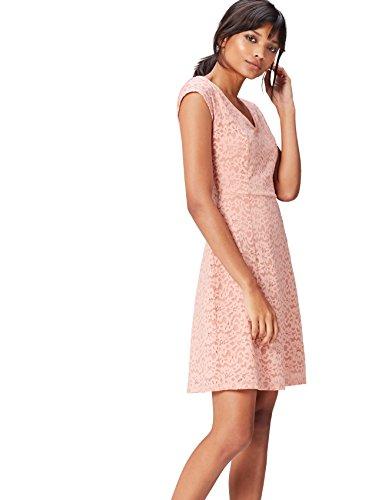 Amazon-Marke: find. Damen Ausgestelltes Wickelkleid aus Spitze, Rosa (Blush), 38, Label: M
